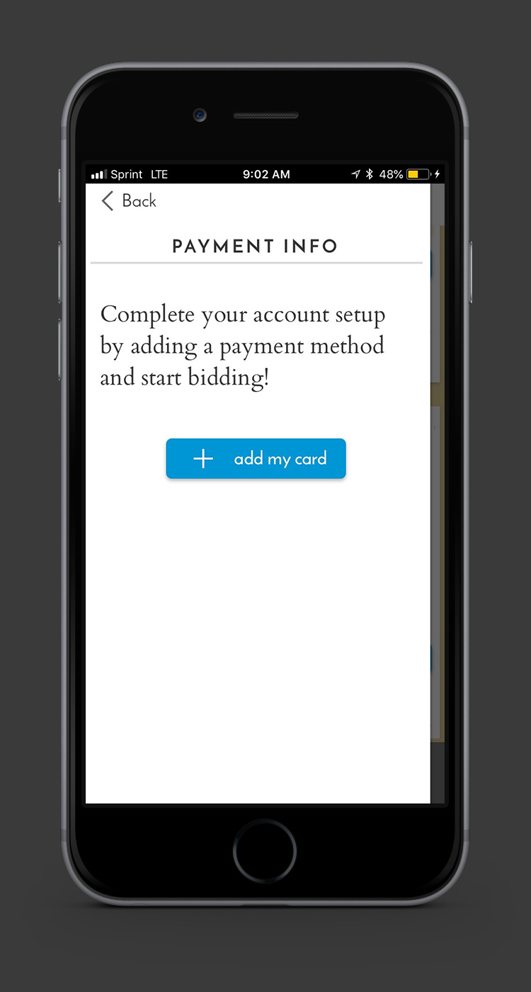 When the user navigates to the settings panel, and there is no payment method on file, they are prompted by this screen